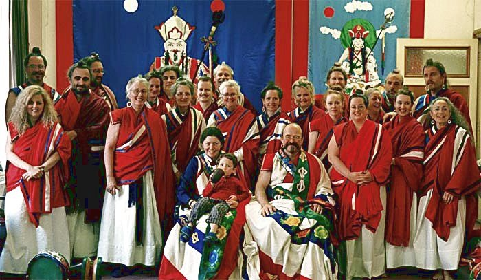 Ordained non-Lama teachers of Aro in robes