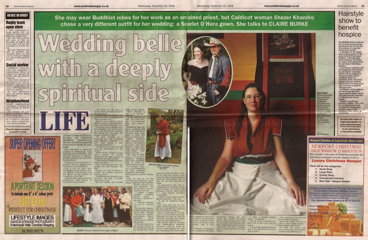South Wales Argus article about Lama Shé-zér Khandro